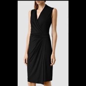 "ALL SAINTS BLACK FAUX WRAP ""NOVI"" MIDI DRESS SZ 4"